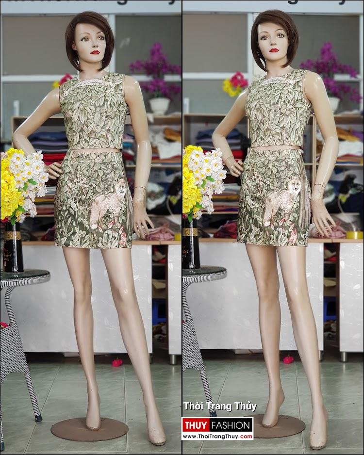 Bộ áo croptop và chân váy xòe chữ A họa tiết hoa lá V712 thời trang thủy hải phòng