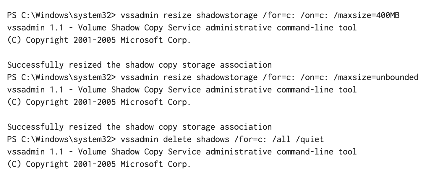 Execute Resize Shadow Storage Command