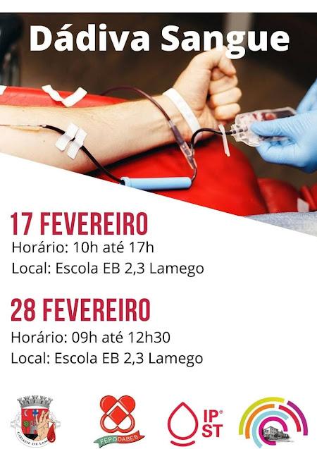 Dádiva de Sangue – Lamego – 17 e 28 de fevereiro de 2021