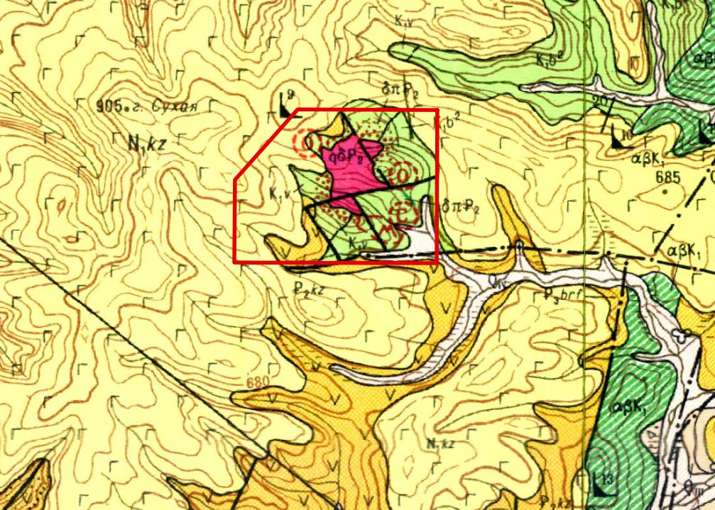 Фрагмент геологической карты 1:200 000