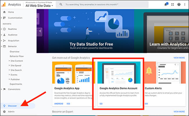 """You can access the Demo account by going to insights, and then clicking on the """"Google Analytics Demo Account."""""""