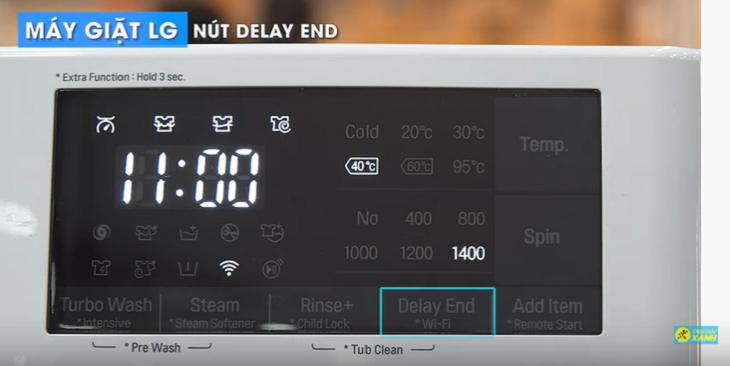 nút hẹn giờ giặt trên máy giặt LG