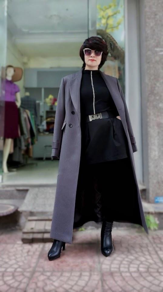 Áo khoác măng tô nữ vải dạ màu ghi xám V750 thời trang thủy hải phòng 3