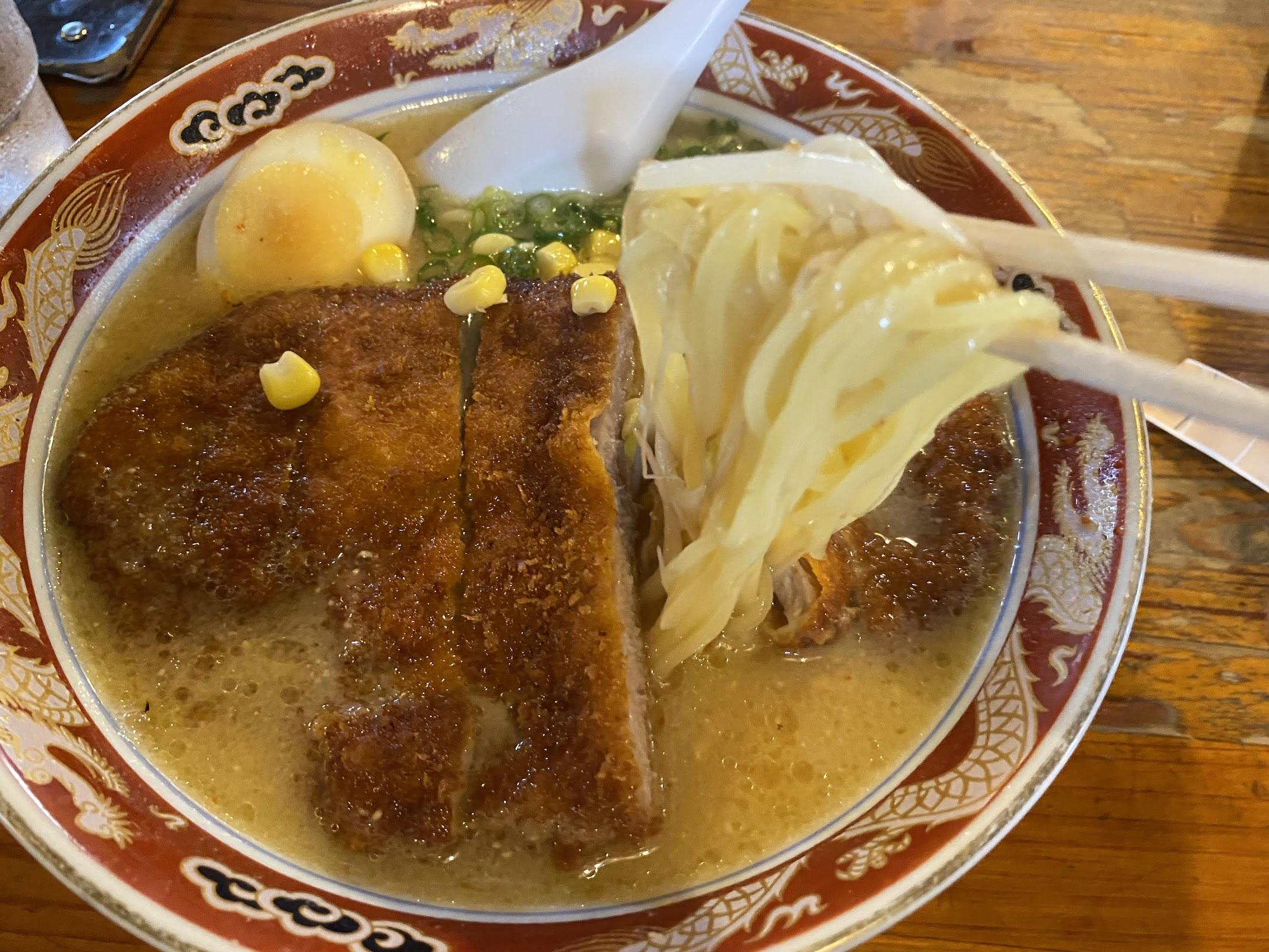 自由軒大津店味噌カツラーメンストレート麺