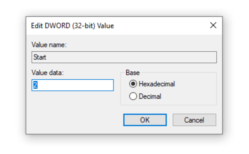 Double-click on Start in the right pane of the window, change the Value data to 2.