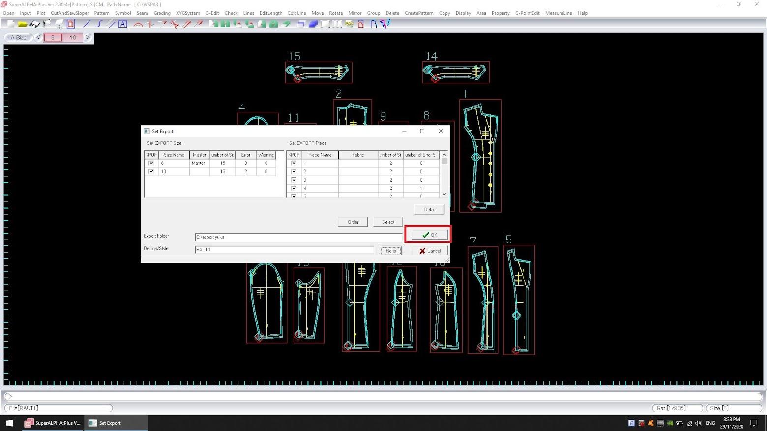 Cách Export Dxf Bộ Rập Pan Hoặc Pax Của Yuka SuperAlpha-Plus 15