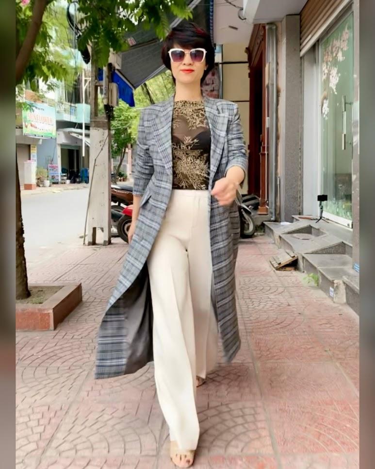 Áo khoác dạ nữ dáng dài kẻ caro mix quần ống suông V742 thời trang thủy đà nẵng
