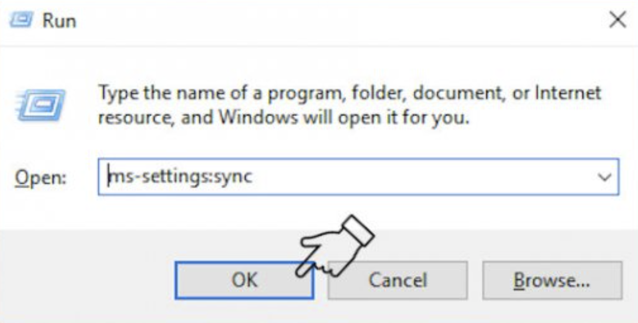 Type ms-settings:sync in the box and click the OK button.