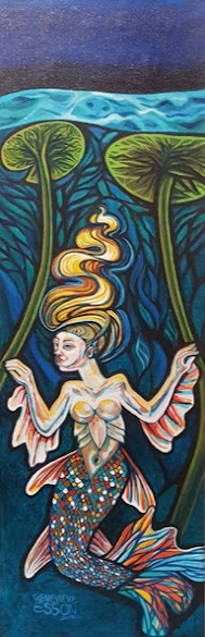 """HONORABLE MENTION: """"?Freshwater Mermaid with Waterlilies at Night"""" Acrylic on Canvas by Genevieve Esso"""