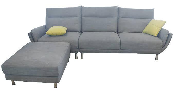※展品出清※  865-02 紳士灰亞麻L型沙發(扶手可拆洗)