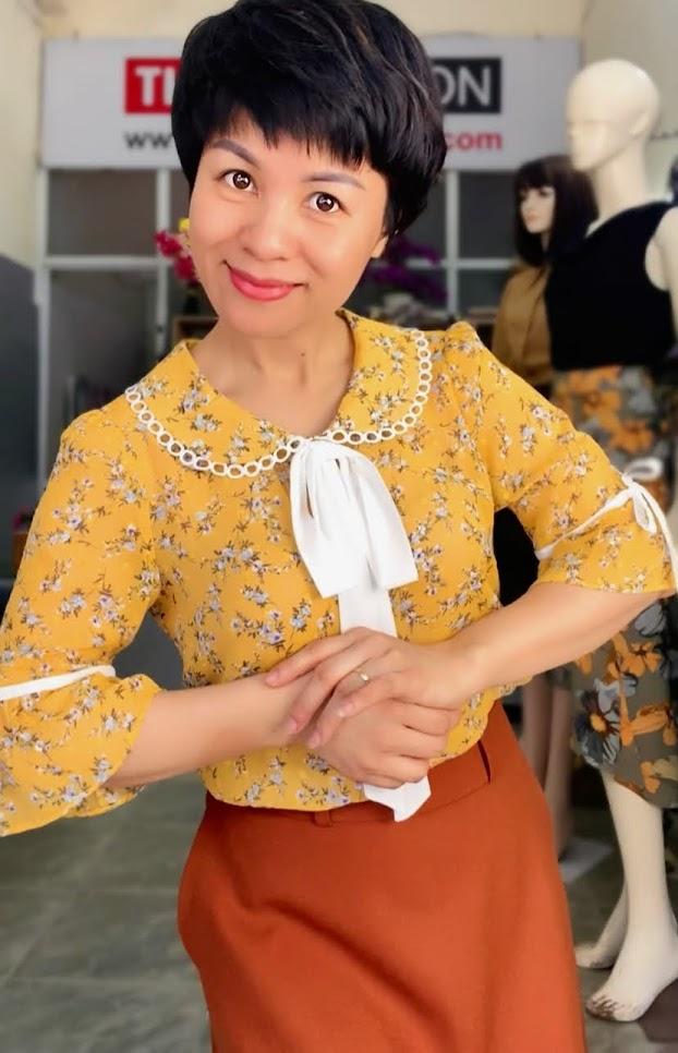 Mix đồ áo sơ mi với chân váy xòe midi V734 thời trang thủy hải phòng 2