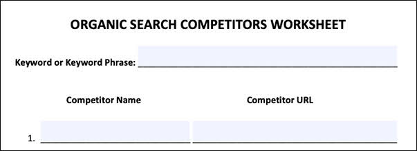 Organic Search Competitors Worksheet