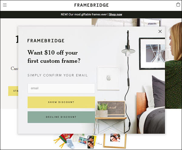 Here's how Framebridge, an online frame store, generates new leads using a $10 discount offer in exchange for their prospect's email address.
