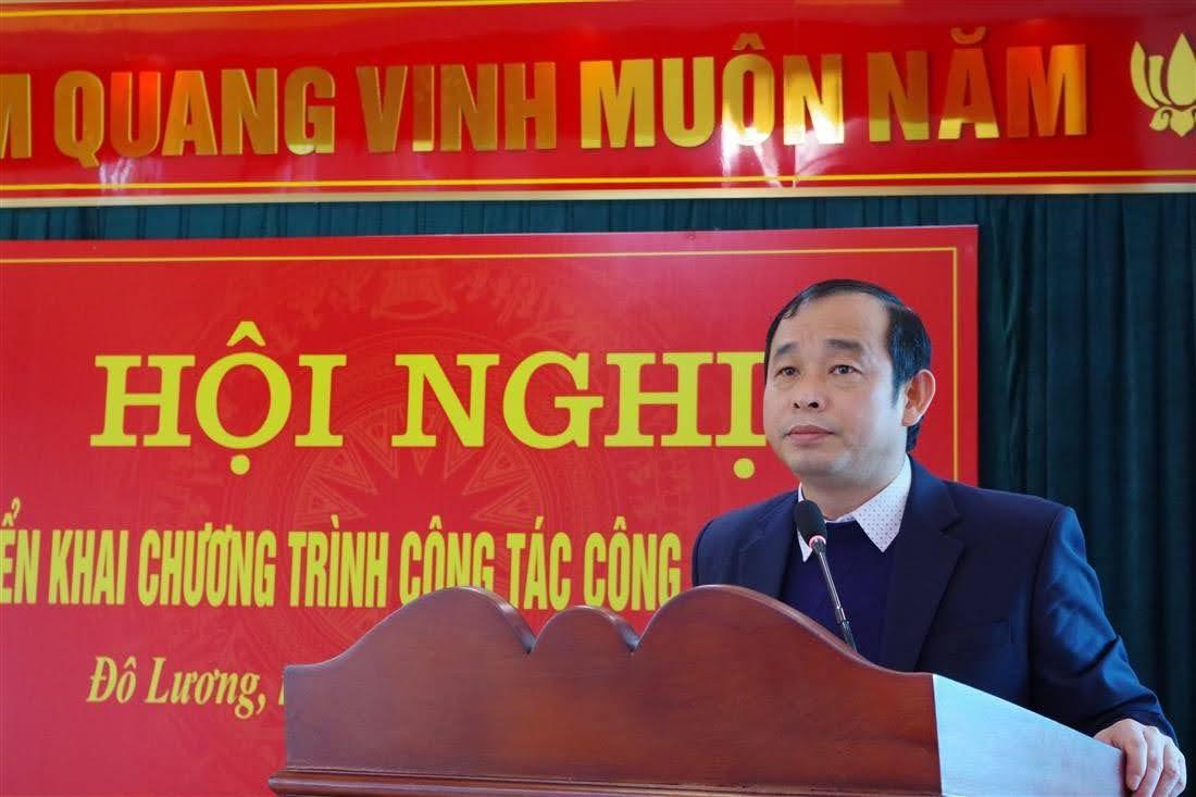 Đồng chí Hoàng Văn Hiệp, Phó Bí Thư Huyện ủy, Chủ tịch UBND huyện phát biểu chỉ đạo
