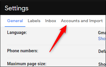 Click the Accounts and Import or Accounts tab in the Gmail Settings.