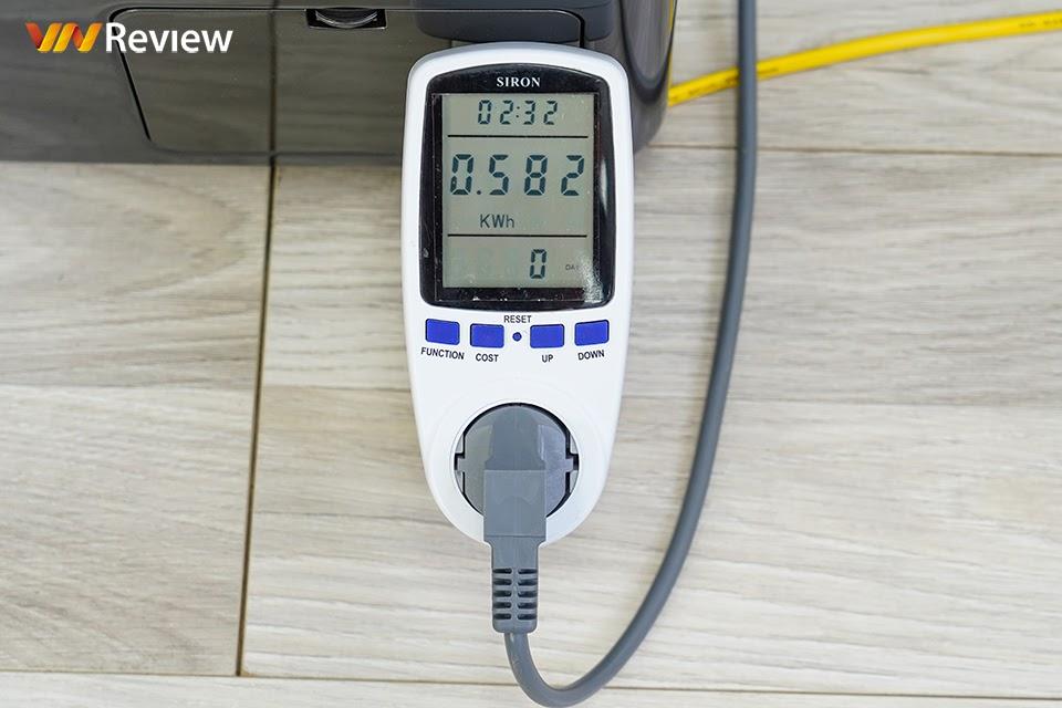 lượng điện tiêu thụ khi nhiệt độ nước 60 độ C