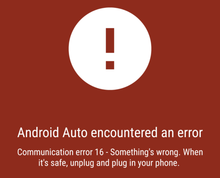Communication error 16 - Something's wrong. When it's safe, unplug and plug in your phone.
