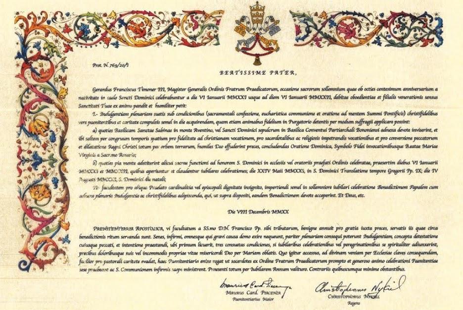 Sắc lệnh ban Ơn Toàn xá  nhân dịp Kỷ niệm 800 năm Sinh nhật trên Trời của Thánh Đa Minh