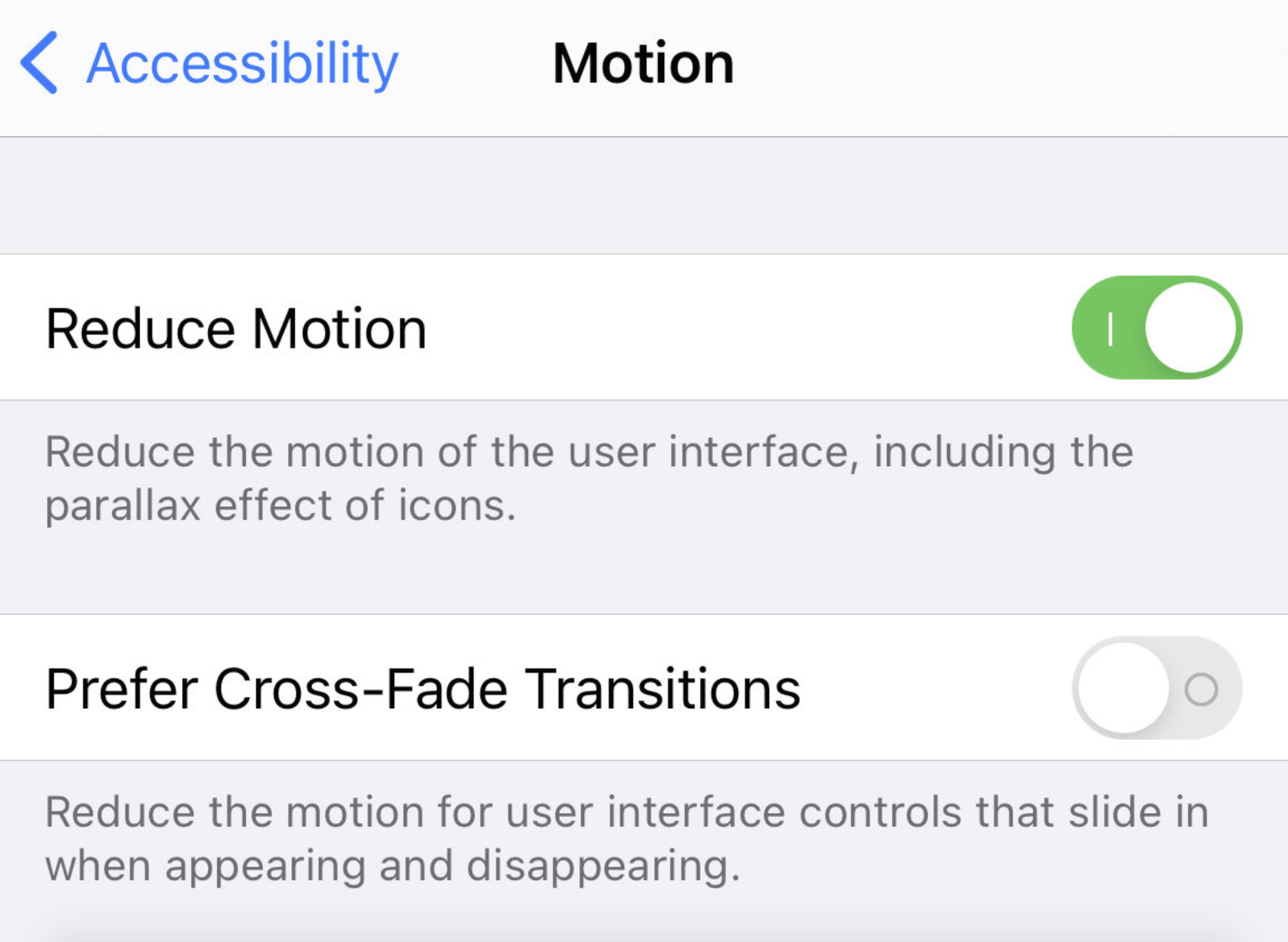 Disable Prefer Cross-Fade Transitions function on iPhone/iPad