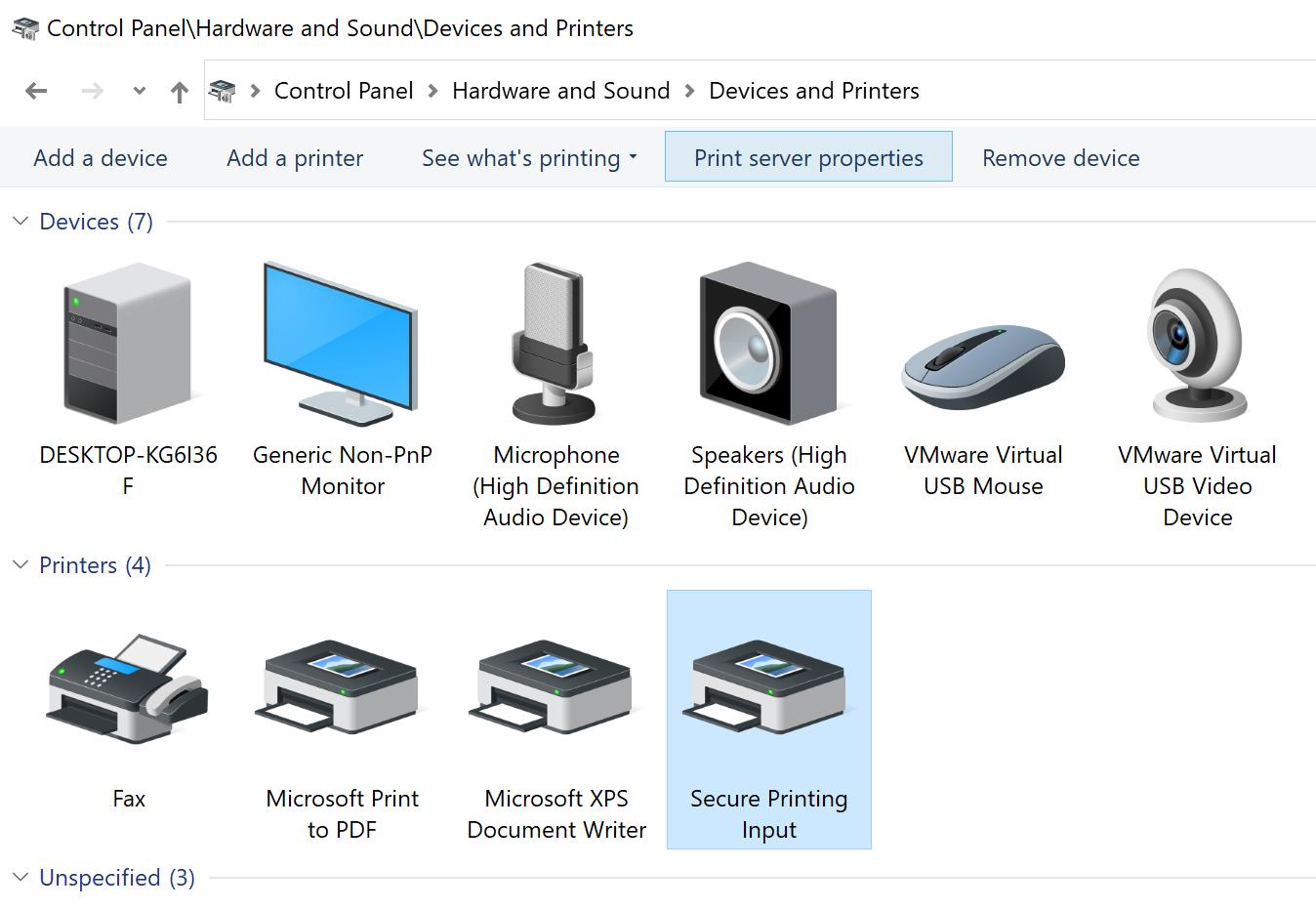 Click Print server properties from the menu bar.