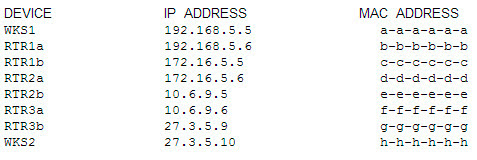 The IP addresses and the MAC addresses of each device are shown