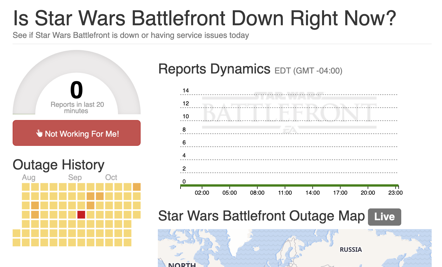Outage.Report / Star Wars Battlefront Outage Map