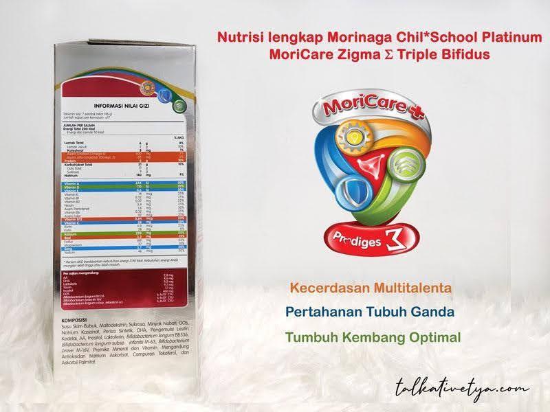 Nutrisi lengkap kandungan gizi susu bubuk Morinaga Chil School Platinum