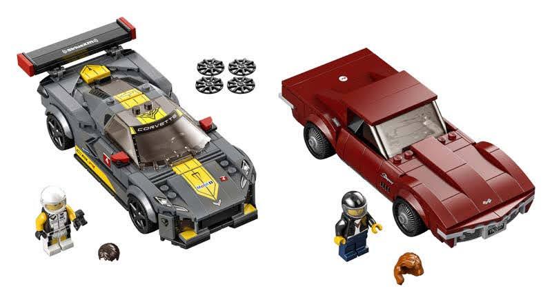 Contenido de LEGO® 76903 Deportivo Chevrolet Corvette C8.R y Chevrolet Corvette de 1968
