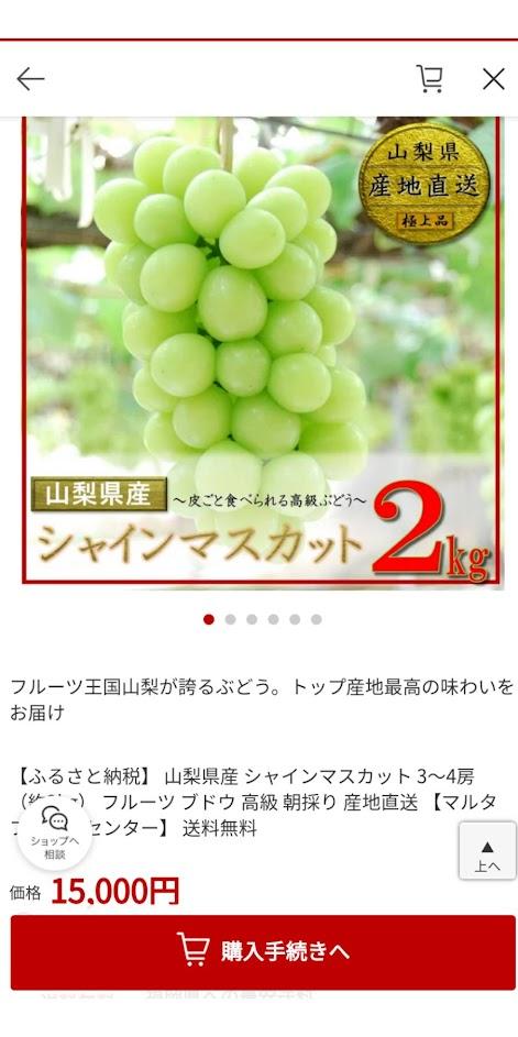 楽天ふるさと納税 富士吉田市シャインマスカットのページの画像