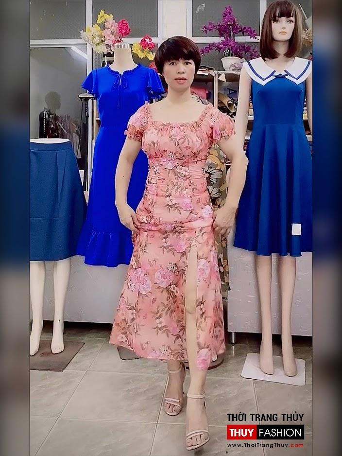 Váy maxi hoa mặc trễ vai đi biển dự tiệc V720 thời trang thủy hà nội