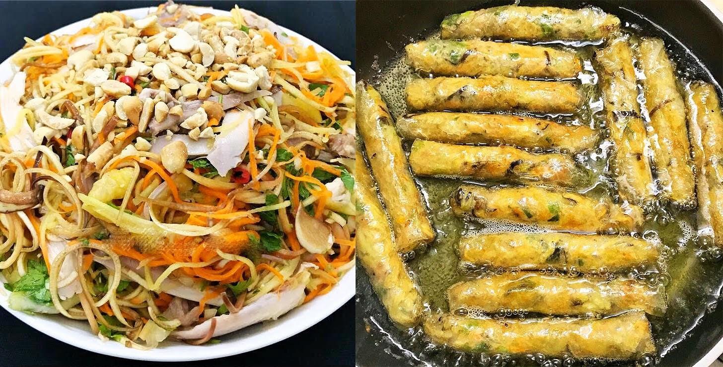 Cơm chiều nấu nhanh ăn ngon với nộm gà và nem rán thập cẩm