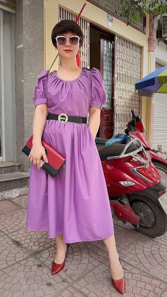 Review chất vải váy xòe midi công sở và dạo phố V761 thời trang thủy 3