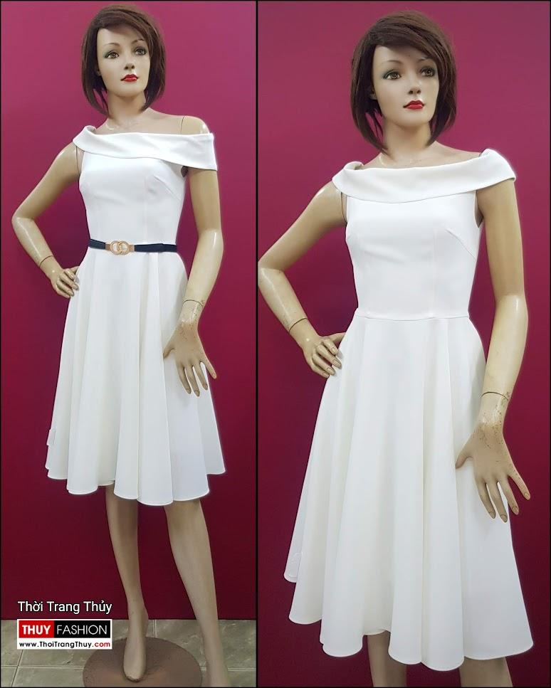 Váy xòe dự tiệc hở vai màu trắng V706 thời trang thủy hà nội