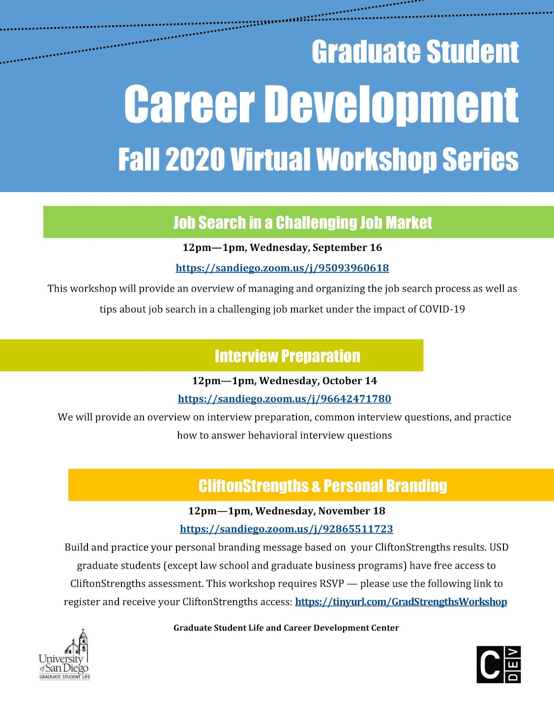 GSL & Career Development Center Graduate Workshop Series: Job Searching in a Challenging Job Market, Wednesday, September 16 at 12:00pm-1:00pm