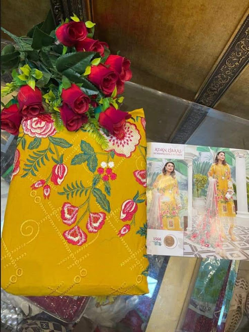 Shree Fabs Adan Libaas Schiffli Collection Design No 1566 Pant Style Suits Catalog Lowest Price