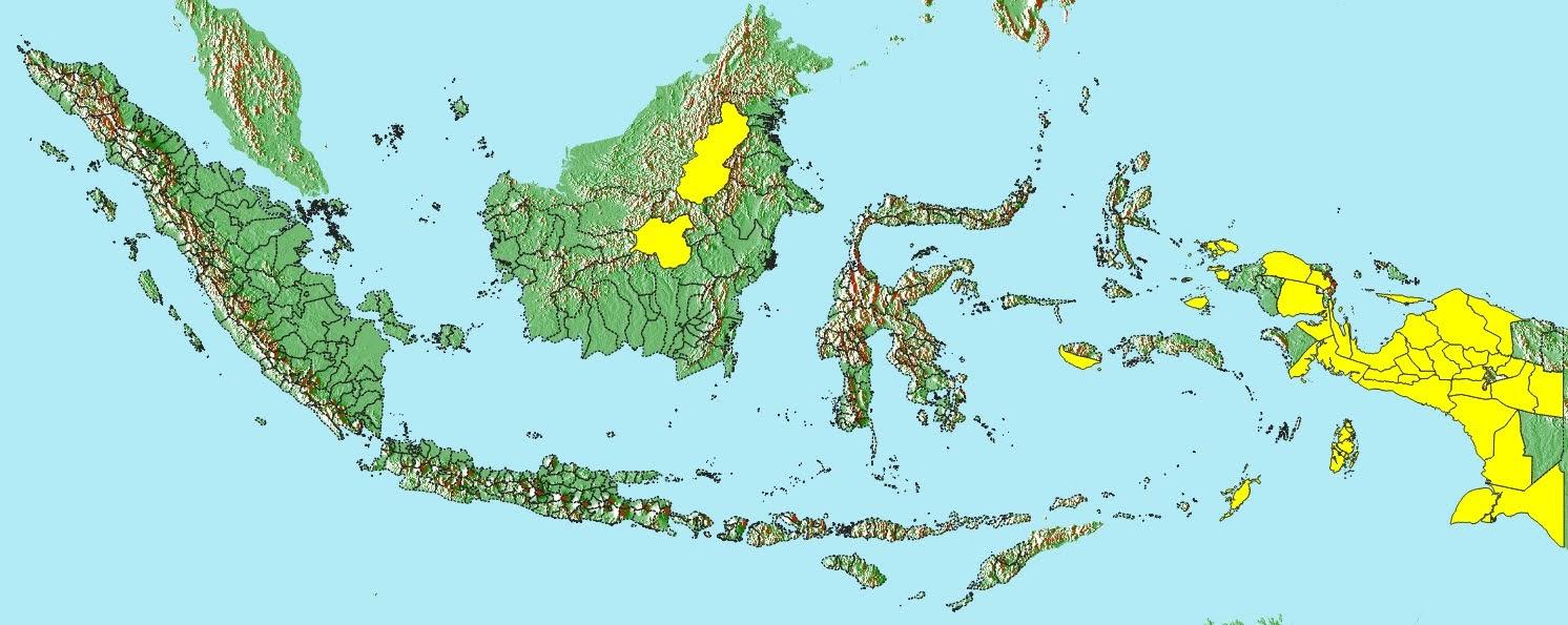 Peta sebaran kabupaten dengan prosentasi APL < 10%