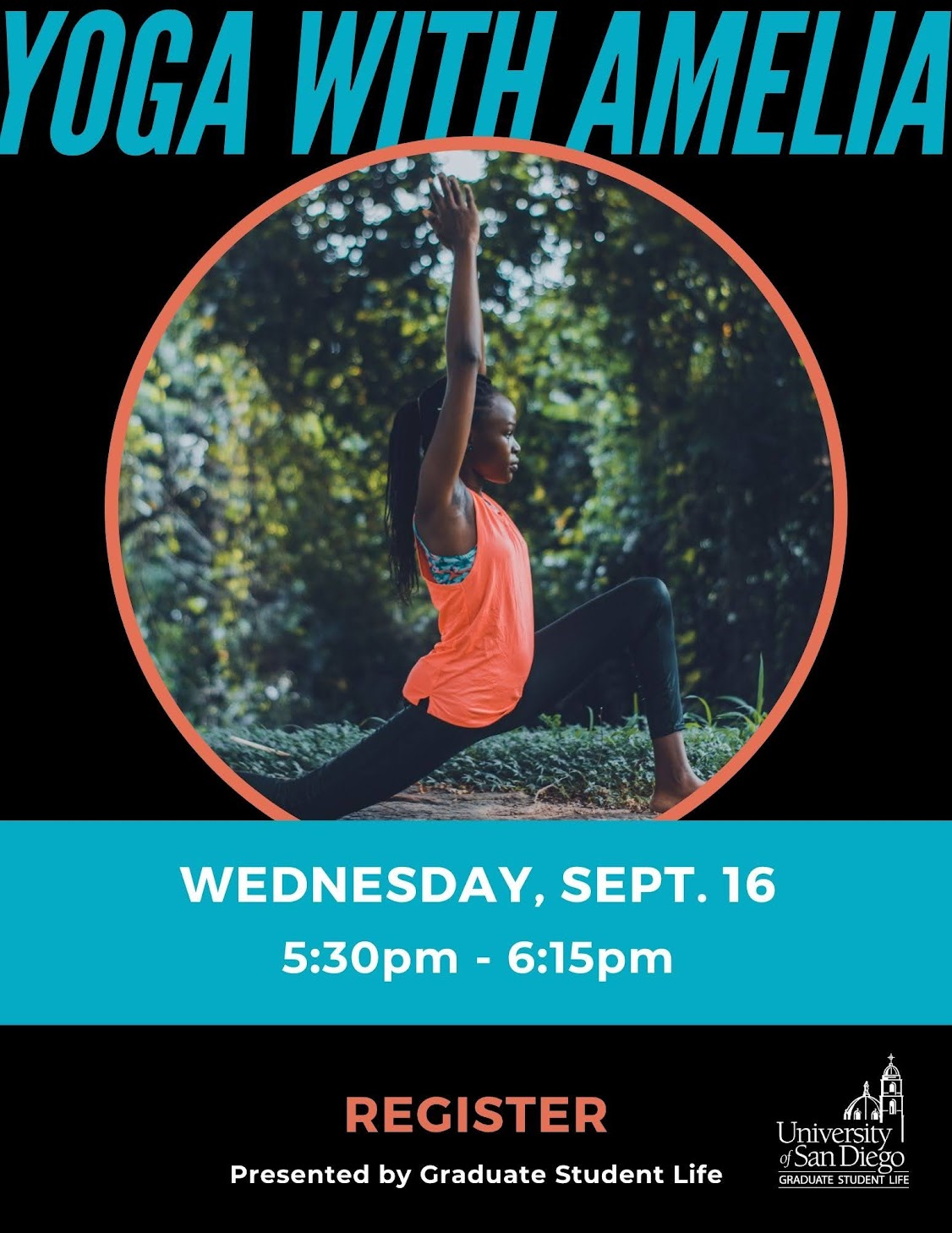 Yoga with Amelia, Wednesday, September 16 from 5:30-6:15pm. Black poster with neon orange and blue text with a woman doing yoga in a neon orange shirt