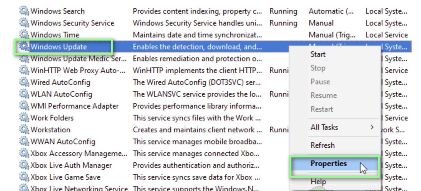 Right-click on Windows Update service and select Properties from the context menu.