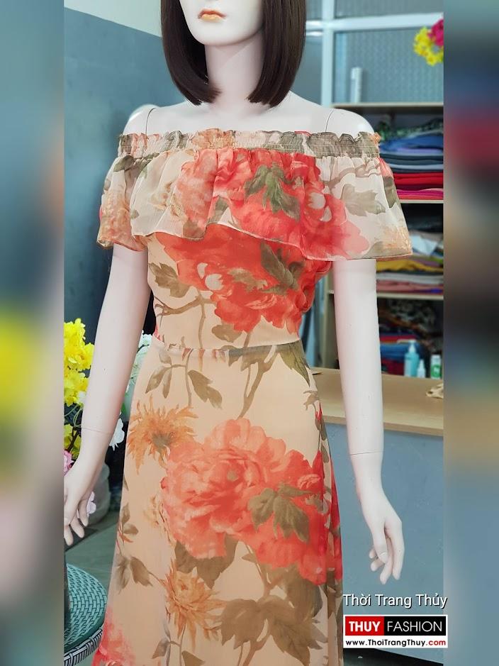 Đầm xòe maxi dáng dài mặc đi biển dự tiệc v716 thời trang thủy sài gòn