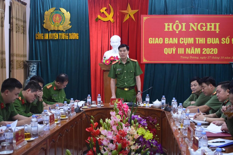Đồng chí Đại tá Cao Minh Huyền, Phó Giám đốc Công an tỉnh phát biểu chỉ đạo tại Hội nghị