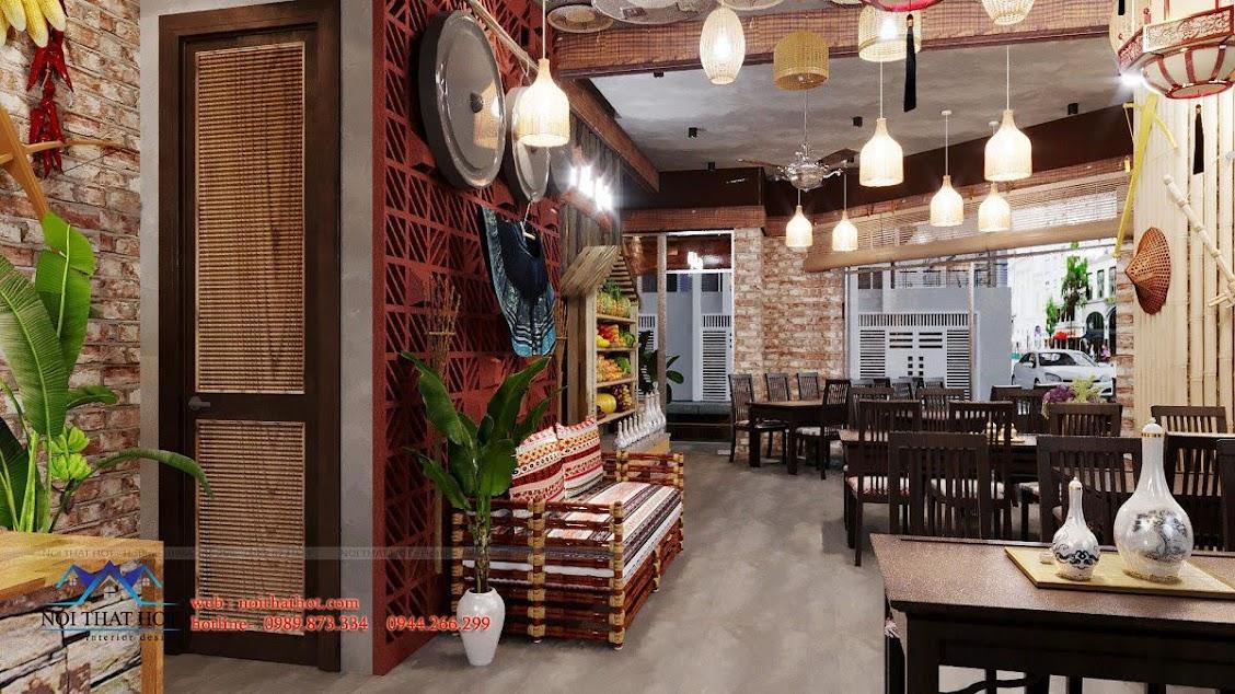 thiết kế nhà hàng phong cách tây bắc