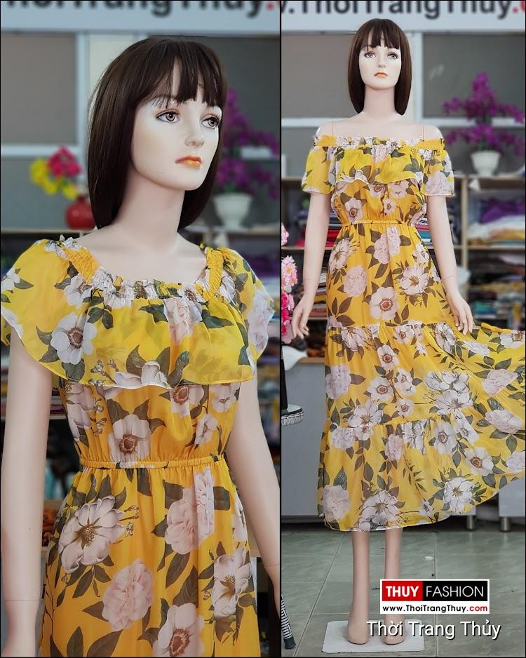 Váy maxi hoa vàng mặc đi biển dự tiệc thời trang thủy đà nẵng