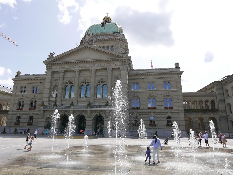 Palais fédéral avec les 26 jets d'eau