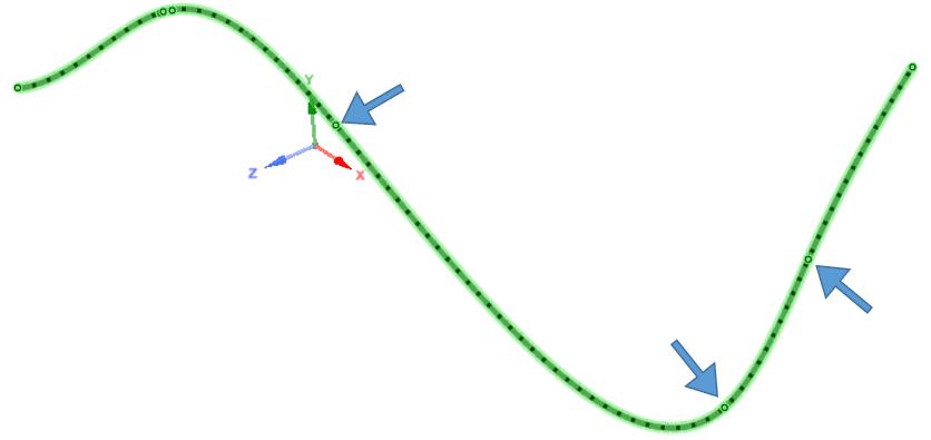 Для отображения направления сплайна сначала необходимо навести курсор на сплайн, чтобы показать его вершины.