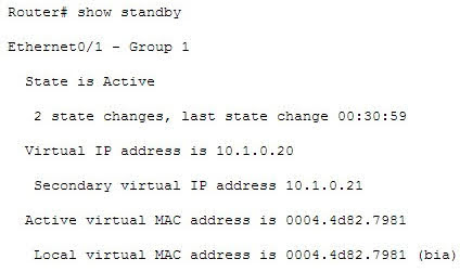 An example of the output of the show standby command on an older router such as the 2500 would be as follows.