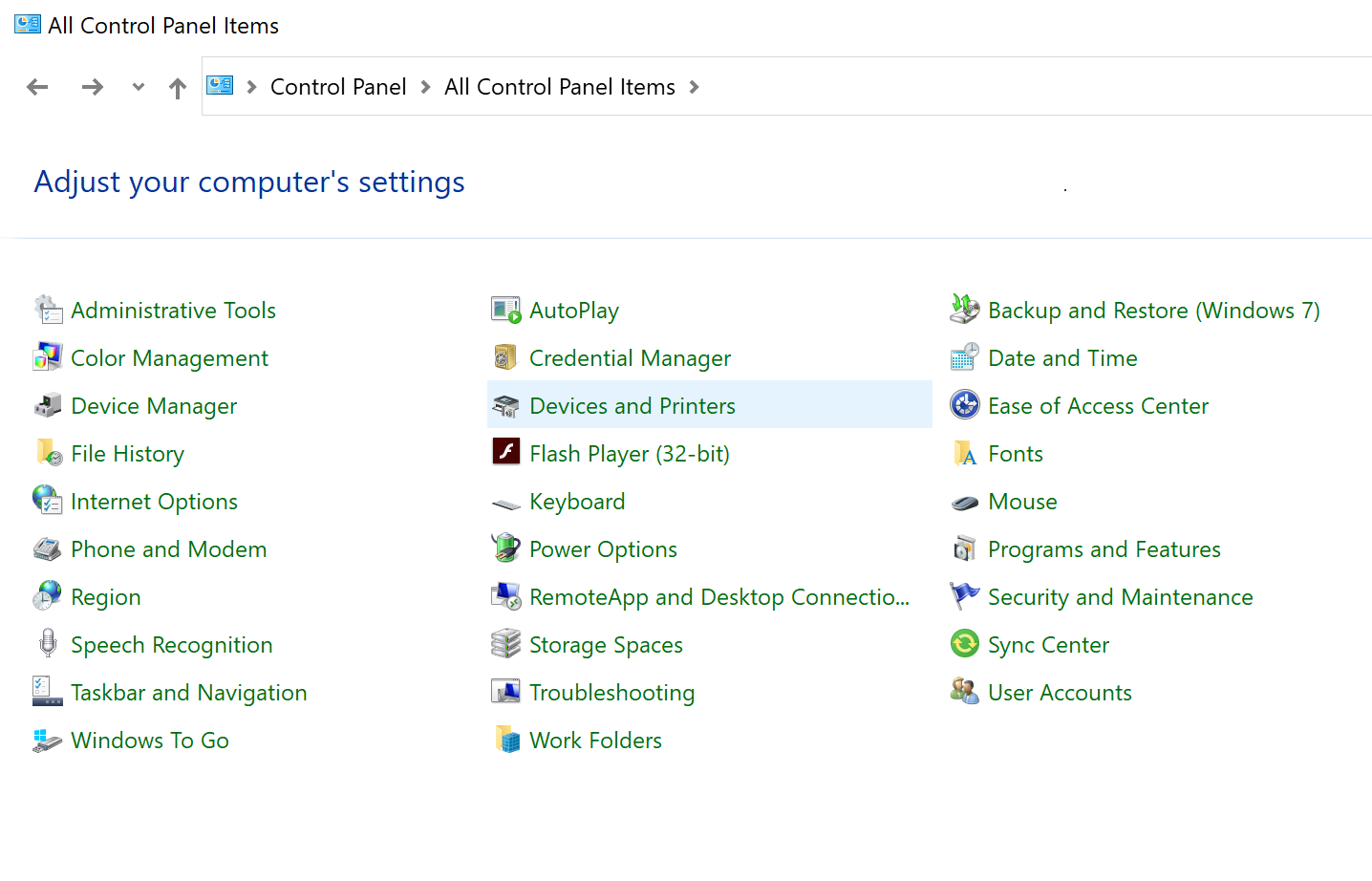 Click on the Devices and Printers icon in Control Panel.