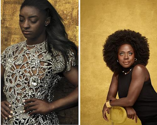Left: Simone Biles via Vogue/Annie Leibovitz, Right Viola Davis via Vanity Fair/Dario Calmese