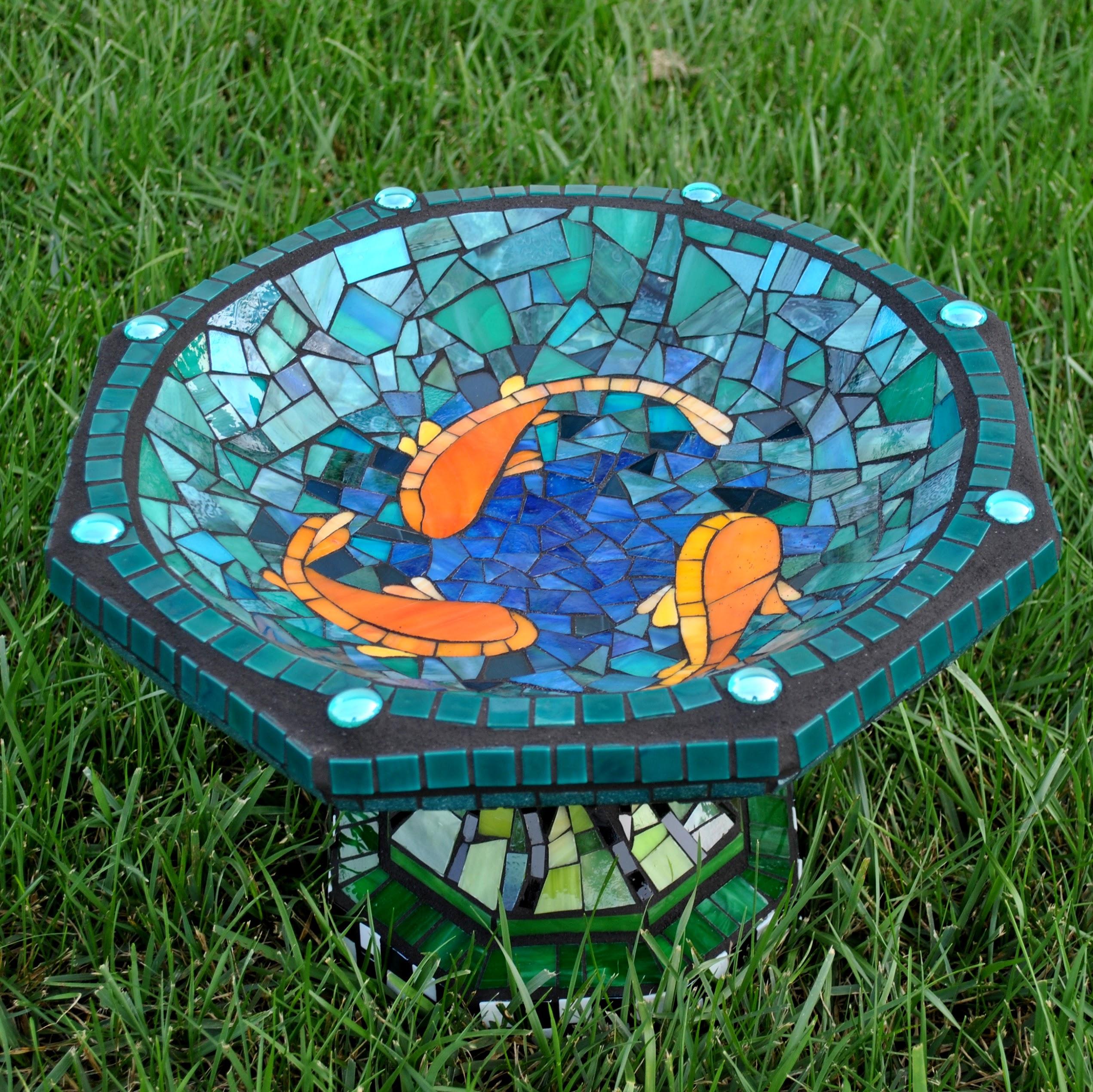Koi Pond Small Birdbath
