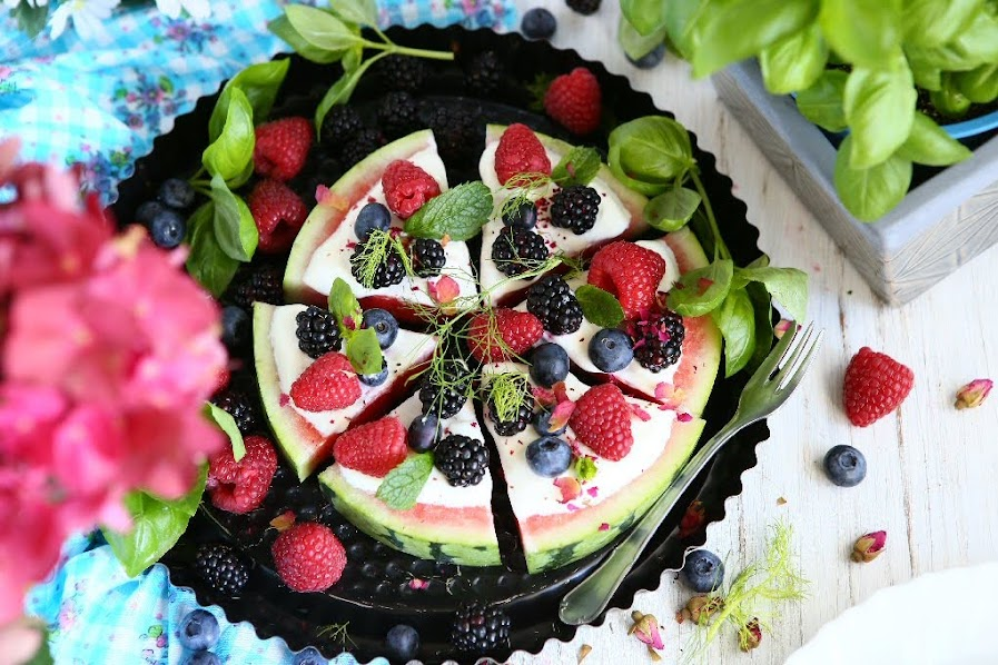 Watermelon Pizza with Berries, Greek Yoghurt and Rose Petals