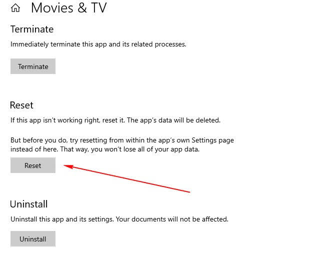 Reset for Movies & TV app